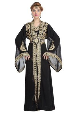 Georgette Black Embroidered Stone Work Jacket And Belt