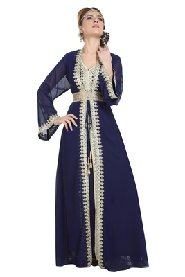 Georgette Navy Blue Embroidered Stone Work Jacket And Belt