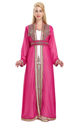 Georgette Pink Embroidered Stone Work Jacket And Belt