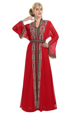 Georgette Red Embroidered Stone Work Jacket And Belt