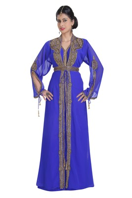 Georgette royal blue embroidered stone work jacket and belt