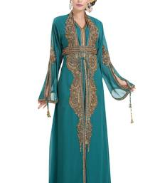 Georgette Turquoise Embroidered Stone Work Jacket And Belt