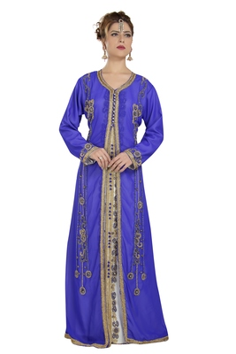 Georgette Royal Blue Embroidered Stone Work Jacket