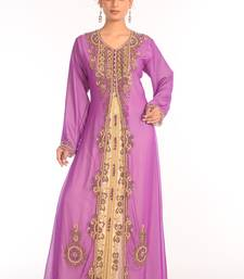 Georgette violet embroidered stone work jacket