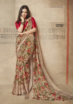 d9a654e316e6b3 Brown printed linen saree with blouse - Shangrila Designer - 2824605