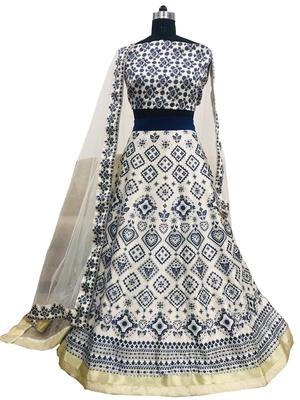 Multicolor digital print silk semi stitched lehenga with dupatta