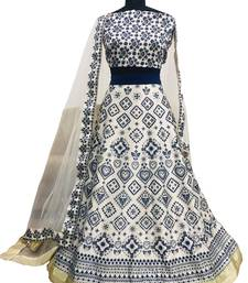 Multicolor digital print silk semi stitched lehenga with dupatta