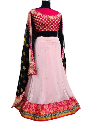 Multicolor embroidered georgette semi stitched lehenga with dupatta