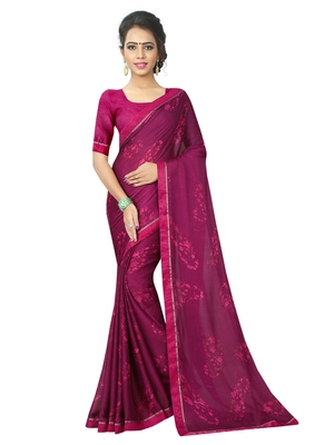 Purple printed chiffon saree with blouse