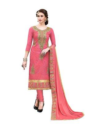Peach embroidered Hand Work Party Wear chanderi salwar Suit Dupatta With Inner