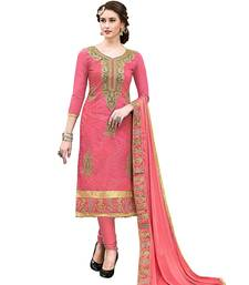 Peach embroidered Hand Work Party Wear chanderi salwar Suit Dupatta With Inner