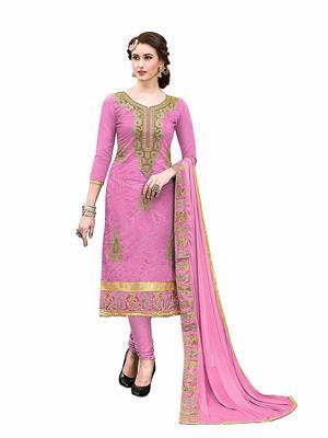 Pink embroidered Hand Work chanderi salwar with dupatta