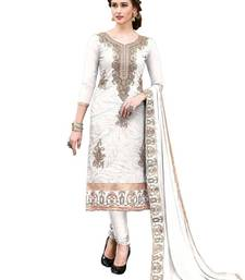 White embroidered Hand Work chanderi kameez  Suit Dupatta With Inner