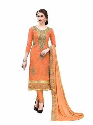 Orange Designer Wear embroidery Hand Work dress material chanderi salwar Suit Dupatta With Inner