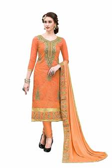 3a09ddfb26 Orange Party Wear embroidered Hand Work chanderi salwar Suit Dupatta With  Inner. Shop Now
