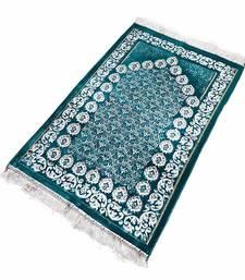 Islamic muslim janamaz musallah prayer mat rug diamond cyan flower