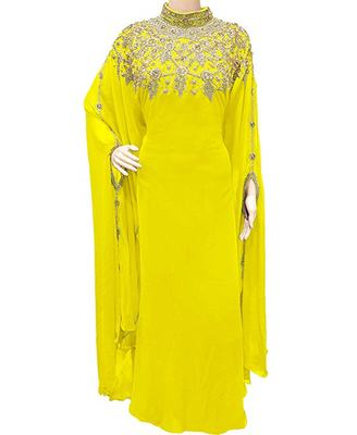 Yellow Georgette Embroidered Stone Work Islamic Kaftan