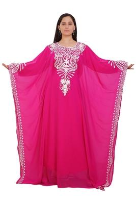 Pink Georgette Embroidered Stone Work Islamic Kaftan