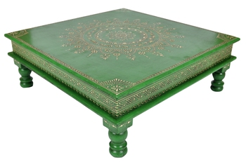Lal Haveli Low Height Wooden Table Decorative Items for Living Room 18 X 18 X 6 Inches