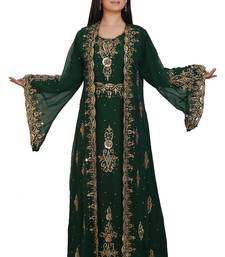 Green Georgette Embroidered Stone Work Islamic Kaftan