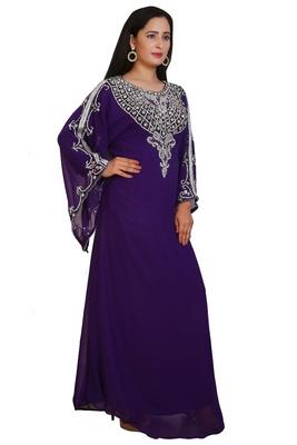 Purple Georgette Embroidered Stone Work Islamic Kaftan