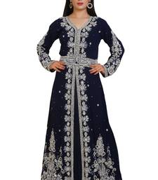 Navy Blue Georgette Embroidered Stone Work Islamic Kaftan