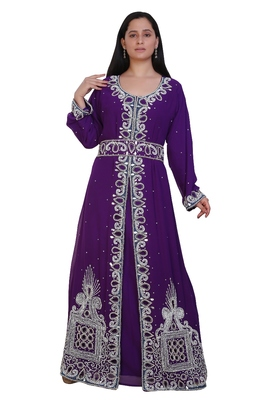 Purple Georgette Embroidered Stone Work Islamic Kaftan