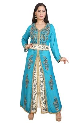 Turquoise Georgette Embroidered Stone Work Islamic Kaftan