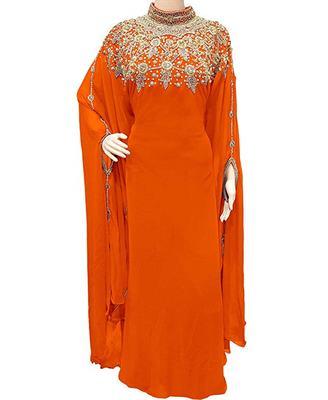 Orange Georgette Embroidered Stone Work Islamic Kaftan