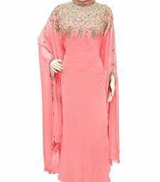 Baby Pink Georgette Embroidered Stone Work Islamic Kaftan