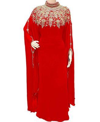 Red Georgette Embroidered Stone Work Islamic Kaftan