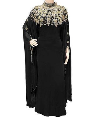Black Georgette Embroidered Stone Work Islamic Kaftan