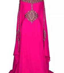 pink georgette embroidered stone work islamic kaftan
