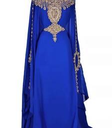 Royal Blue Georgette Embroidered Stone Work Islamic Kaftan