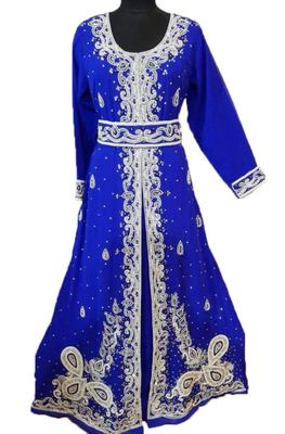 Royal Blue Georgette Embroidered Stone Work Islamic Kaftan
