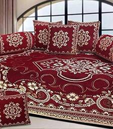 Chenille diwan set with 2 bolster and 5 cushion cover diwan-set