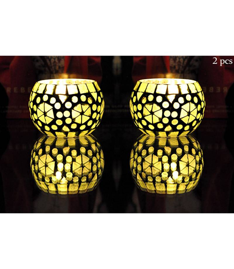 Lal Haveli Green Color Glass Candle Holders Tealight Candle Holder Decorative Candle Holders 3 Inch Set Of 2 Lal Haveli 2825585