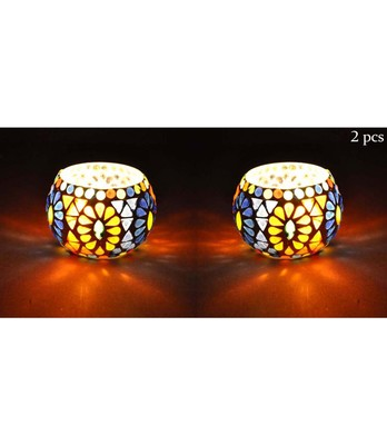 Lal Haveli Handmade Mosaic Glass Tea Light Candle Holder Table Decorations Set of 2 (3 inch)