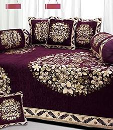 Chenille diwan set with 2 bolster and 5 cushion cover