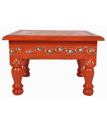 Lal Haveli Handmade Designer Wooden Bajot Patla Orange Color 9 X 9 X 5.5 inches