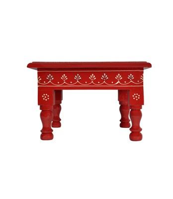 Lal Haveli Meenakari Work Design Wooden Chowki Table Red Color 9 X 9 X 5.5 inches