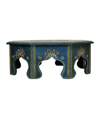 Lal Haveli Wooden Bajot Table & Chowki 17 X 17 X 6 inches
