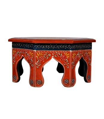 Lal Haveli Hand Painted Work Design Wooden Round Bajot & Chowki Table 13 X 13 X 6 Inches
