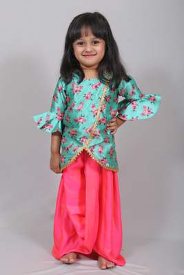Blue printed cotton silk top with skirt dhoti for girls