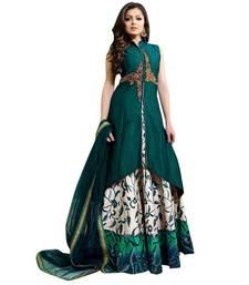 Buy Green printed dupion silk semi stitched lehenga with dupatta anarkali-lehenga online