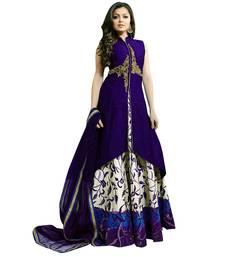 Purple printed dupion silk semi stitched lehenga with dupatta anarkali-lehenga