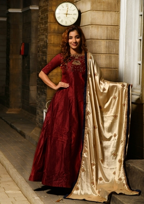 c43814a68b Maroon embroidered silk gown - MEGHALYA - 2825745