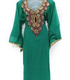 Seagreen Georgette Embroidered Stone Work Islamic Kaftan
