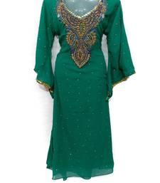 green georgette embroidered stone work islamic kaftan