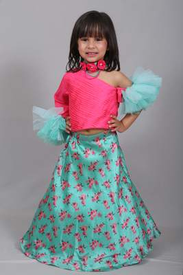 Pink printed art silk kids lehenga choli